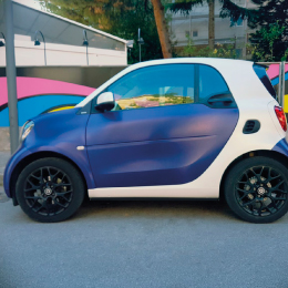 gallery car wrapping smart blue spazzolato