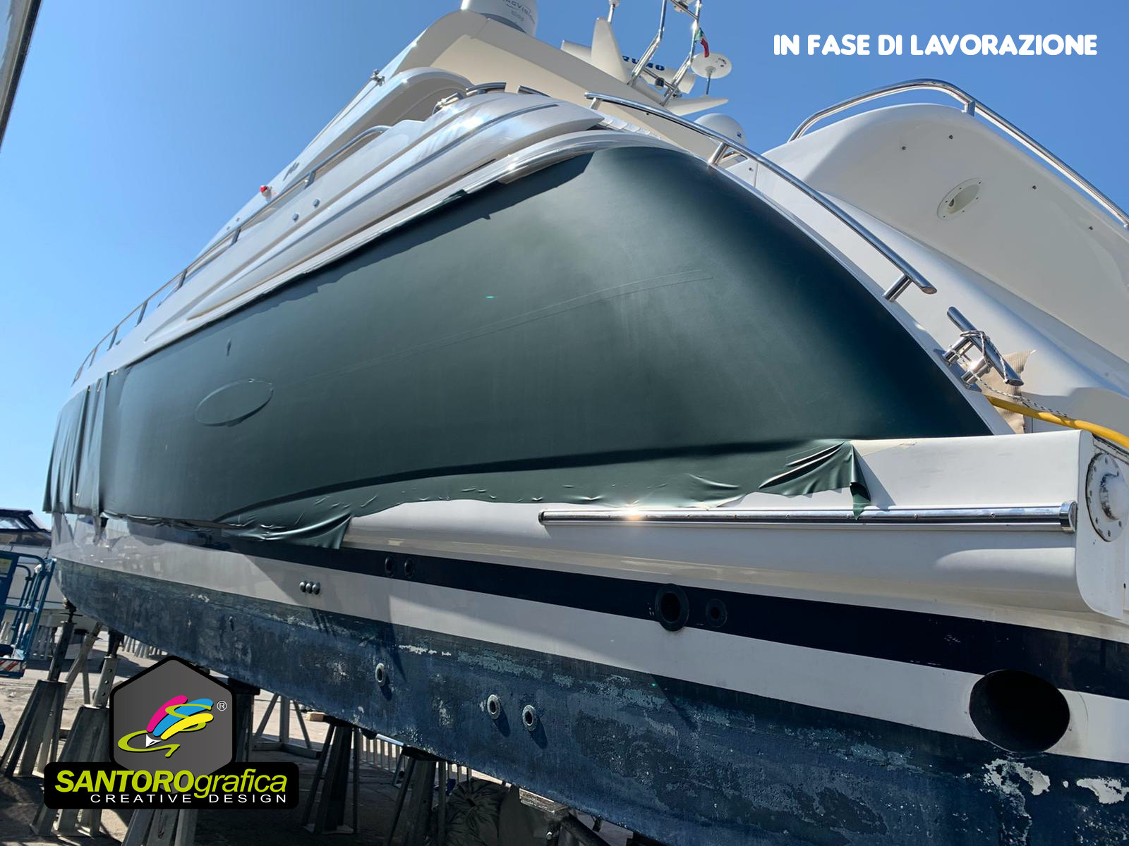 boat wrapping princess 78 pellicola pine green 1