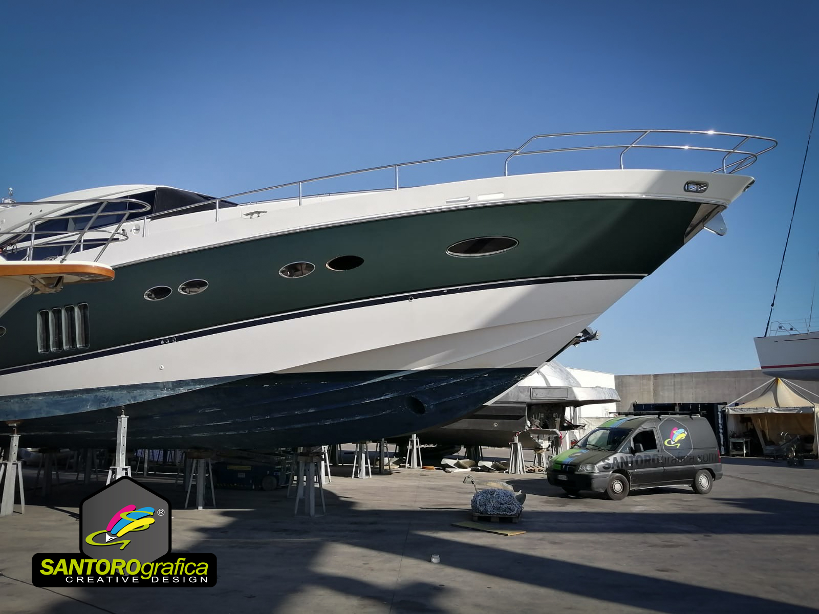 boat wrapping princess 78 pellicola pine green 2