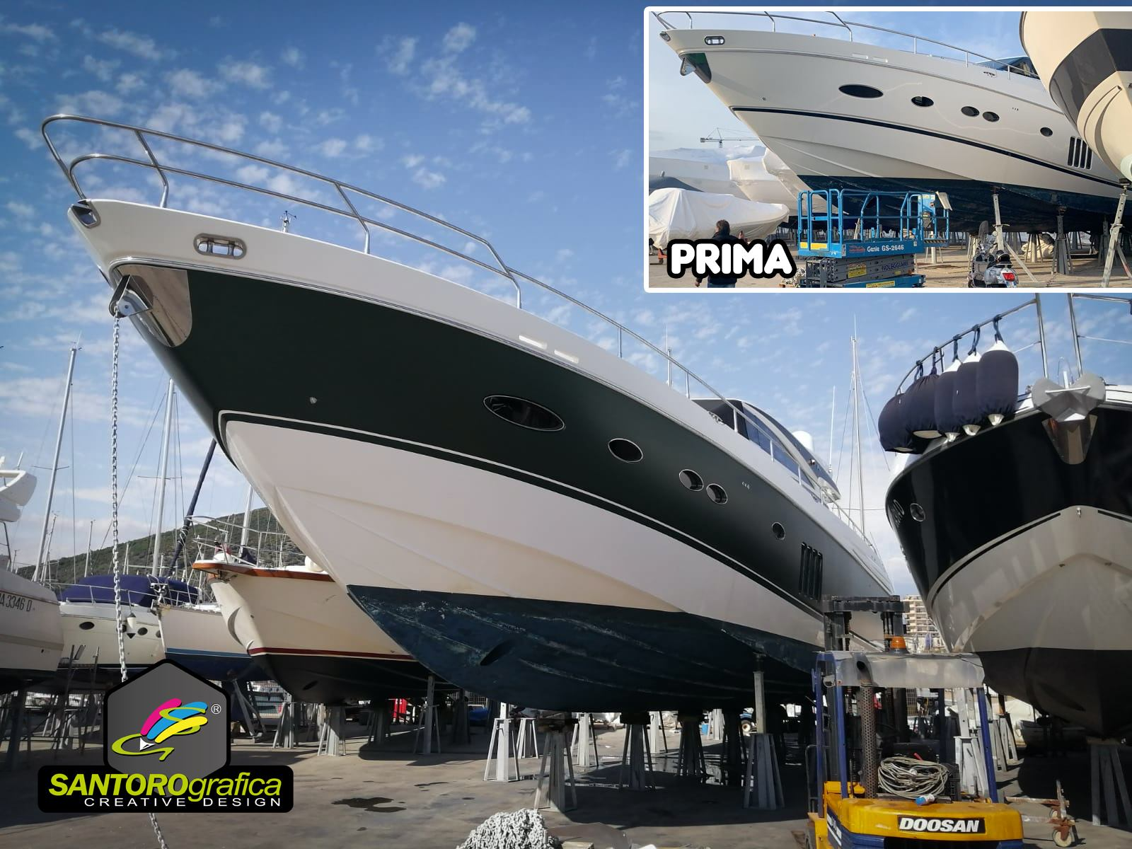 boat wrapping princess 78 pellicola pine green 3