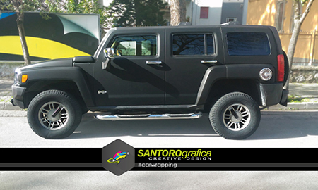 hummer car wrapping nero opaco 2