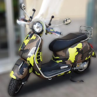 wrapping scooter giallo verde